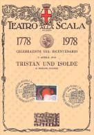 BICENTENARIO TEATRO ALLA SCALA MILANO 1778 / 1978 - 5 APRILE - TRISTAN UND ISOLDE DI RICHARD WAGNER SU CARTONCINO - Teatro
