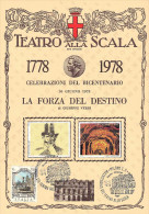 BICENTENARIO TEATRO ALLA SCALA MILANO 1778 / 1978 - 10 GIUGNO 1978 - LA FORZA DEL DESTINO DI GIUSEPPE VERDI - CARTONCINO - Teatro