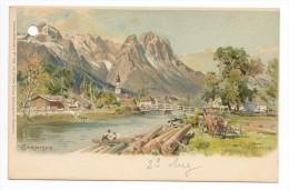 GARMISCH-LITO-illustrateur Compton-Lithographie - Garmisch-Partenkirchen