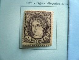Spagna - Espana - 1870 Alegoria Espana - 1 Mila De Esc. - 1m - Violetto Su Salmone Violeta S. Salmon - * - Nuovi