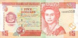 BELIZE 5 DOLLARS 2002 PICK 61b UNC - Belize
