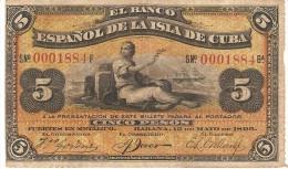 KUBA 5 PESOS 1896 PICK 48a VF