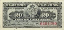 KUBA 20 CENTAVOS 1897 PICK 53 UNC