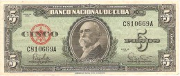 KUBA 5 PESOS 1960 PICK 92 aXF