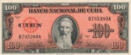 KUBA 100 PESOS 1959 PICK 93a AU+