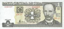 KUBA 1 PESO 2002 PICK 121a UNC