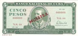 KUBA 5 PESOS 1984 PICK CS18 SPECIMEN UNC
