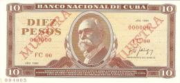 KUBA 10 PESOS 1986 PICK CS20 SPECIMEN UNC