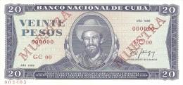 KUBA 20 PESOS 1988 PICK CS22 SPECIMEN UNC