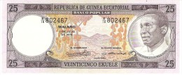 EQUATORIAL GUINEA 25 EKUELE 1975 PICK 9 UNC - Guinea Ecuatorial