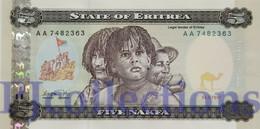 ERITREA 5 NAKFA 1997 PICK 2 UNC - Erythrée