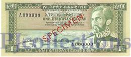 ETHIOPIA 1 DOLLAR 1966 PICK 25s UNC RARE - Ethiopie