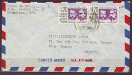 MEXIQUE  Lettre  De NAUCALPAN   Annee 1958  Avec  BANDE De 2 Timbres   POSTE AERIENNE   PAR AVION - Messico