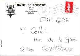 FRANCE. Enveloppe De 1997. Mairie De Verberie. - Marcophilie (Lettres)