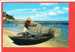 SEYCHELLES Cp Animée Pecheur JOLIS TIMBRES - Seychellen