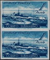Espagne 1938 Y&T 624. Paire Verticale Non Dentelée, Essai. Service Postal Par Sous-marins - Submarines