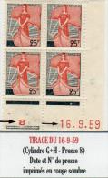 MARIANNE A LA NEF 1959 - 25F CD Du 16/9/59 (N°1216**): Date Et N° De Presse Imprimés En Rouge Sombre - 1959-60 Marianne à La Nef