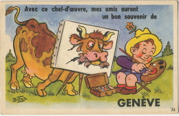 Geneve Carte Systeme Depliant 10 Vues Par Bozz Vache Peintre - GE Geneva