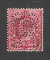 GRAN BRETAGNA - SERVIZIO - 1902-04 - Valore Usato Da 1 P. EDOARDO VII Con Perforazione B.T - In Ottime Condizioni. - Servizio
