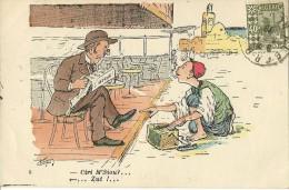 HUMOUR COLONIALISME  CIREUR CHAUSSURE  CIRI M'SIOU - ZUT EDIT. L. CHAGNY   ECRITE CIRCULEE TP ALGERIE 1929 - Humour