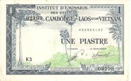 FRENCH INDOCINA 1 PIASTRE 1954 PICK 100 XF RARE - Indocina