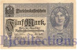 GERMANY 5 MARK 1917 PICK 56b AUNC - [ 2] 1871-1918 : Duitse Rijk
