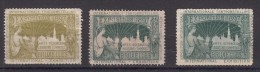 Belgique Vignette Exposition De Bruxelles 1897 3 Différentes - Commemorative Labels