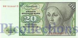 GERMANY FEDERAL REPUBLIC 20 DEUTSCHEMARK 1980 PICK 32d UNC - [ 7] 1949-… : RFA - Rep. Fed. Tedesca