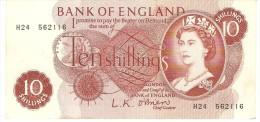 GREAT BRITAIN 10 SHILLINGS 1960 PICK 373a XF - 1952-… : Elizabeth II