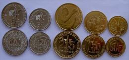 WEST OVEST AFRICAN SERIE 5 MONETE 100-50-25-10-5 FRANCHI FDC - Monete