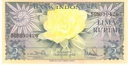 INDONESIA 5 RUPIAH 1959 PICK 65 AUNC - Indonésie
