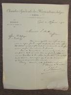 Document Chambre Syndicale Horticulteurs Belges Gand Rue Digue De Brabant 1901 - Belgique