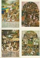 Lot De 16 CP Du Palacio Nacional De Mexico - Peintures & Tableaux