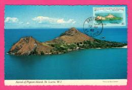 Aerial Of Pigeon Island - St Lucia - BOB GLANDER - 1982 - Avec Timbre Bi-Centenary Of The Battle Of The Saints - Etats-Unis