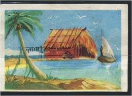 Chromo  OCÉANIE Tahiti Case De Pêcheurs Bien 65 X 45 Mm  Pub:Rozan N°3 - Chocolat
