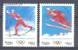 Poland 1994 Mi 3478-3479 MNH - Olympics 1994 Lillehammer, Skijumping, Skiing - Winter 1994: Lillehammer
