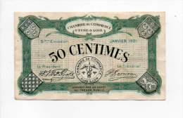 Eure & Loir - 50 Cts - Janvier 1921 - 5° émission - Sans Filigrane - Chambre De Commerce