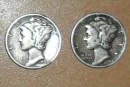 """Lot De 2x One Dime """"Mercury"""" De 1942 Et 1944 Argent;en TTB+(Monnaies Plus Belle Que Photos) - Federal Issues"""