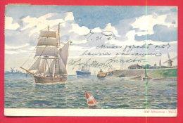 164533 / Artist ?? -  F. Klinge - 060 ALTEROCCA - TERNI - SAILING , SHIP , Windmill Italia Italy USED 1904 BULGARIA - Pittura & Quadri