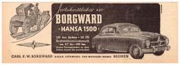 Original Werbung - 1951 - Borgward Hansa 1500 , Oldtimer , Bremen !!! - KFZ