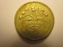 One Pound GRANDE-BRETAGNE 1989 - 1971-… : Monnaies Décimales