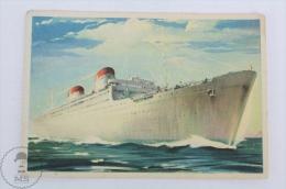 Old Illustrated Boat Postcard - Conte Grande / Conte Biancamano - Italian Ship - Ships