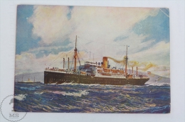 Old Illustrated Boat Postcard - Norddeutscher Lloyd Germany Shipping Company - Weser - Bateaux
