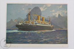 Old Illustrated Boat Postcard - Norddeutscher Lloyd Germany Shipping Company - Sierra Ventana - Bateaux