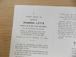 Doodsprentje Josephina Leys Stabroek 5/4/1902 Ekeren 23/5/1986 ( Frans Van Beeck ) - Religione & Esoterismo