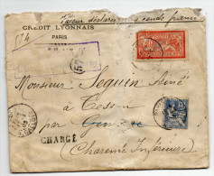 1903 - ENVELOPPE COMMERCIALE CHARGEE Pour TESSON  (CHARENTE MARITIME) - MOUCHON + MERSON - Postmark Collection (Covers)