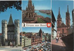 AK Basel Bale Spalentor Marktplatz Rathaus Münster Schweiz Suisse Switzerland - BS Bâle-Ville