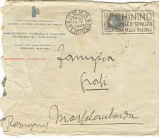"""ASSOCIAZIONE NAZIONALE FASCISTA RIVENDITORI PRIVATIVE, BUSTA VIAGGIATA  1928, POSTE ROMA TARGHETTA """"IL CHININO.......... - Historical Documents"""