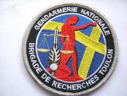 INSIGNE TISSUS PATCH GENDARMERIE NATIONALE LA BRIGADE DE RECHERCHE DE TOULON 83 SUR VELCRO ETAT EXCELLENT - Police & Gendarmerie