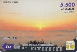 Carte Prépayée Japon - Série Mois Calendrier 2003 - COUCHER DE SOLEIL V1 - SUNSET Calendar Japan Prepaid Card - Hiro 01 - Paysages